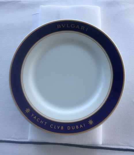 Branded chinaware at Bvlgari Yacht Club Dubai